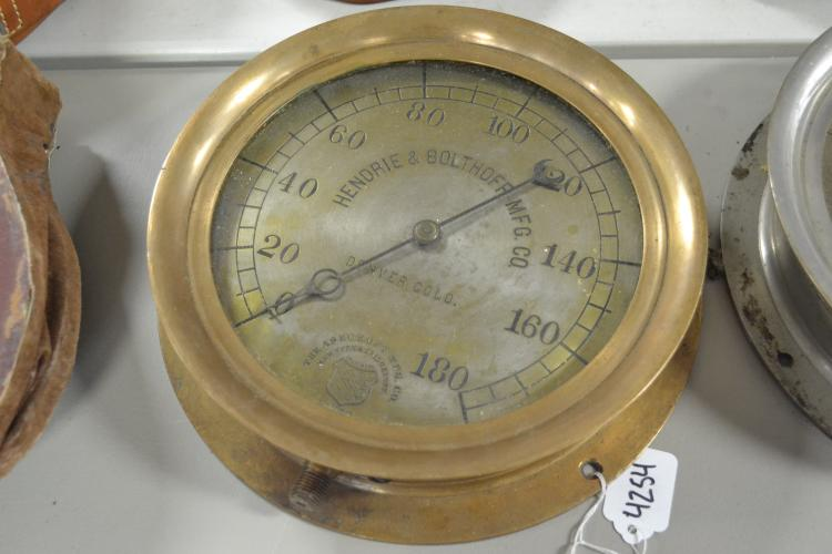Antique 1890S Ashcroft Manufacturing Company 180 Lb Pressure Gauge