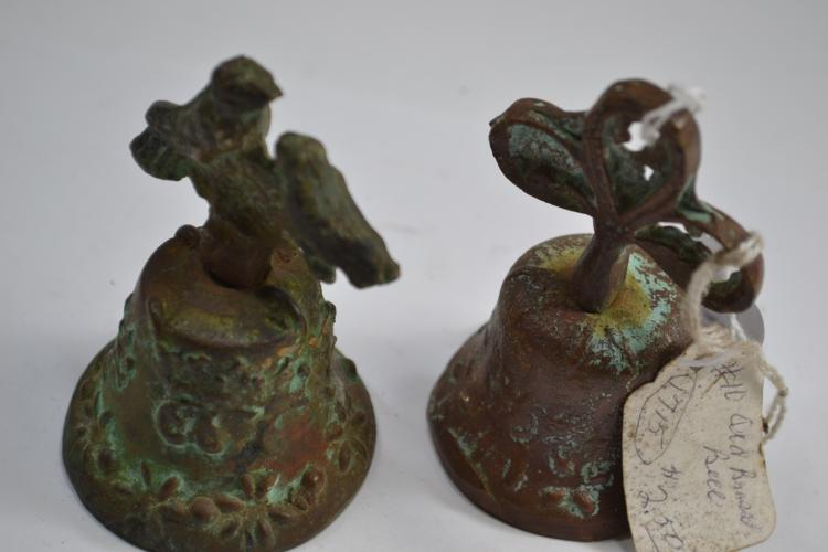 2 Small Decorative Cast Bronze Bells