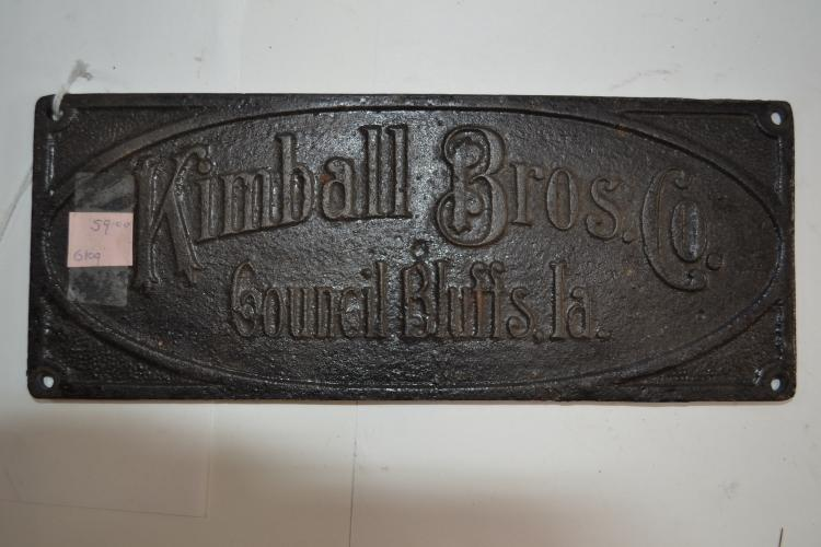 Antique Cast Iron Kimball Brothers Company Council Bluffs Louisiana Plaque