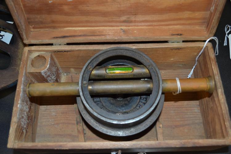 Antique Bostroms Cast Iron Survey Level In Original Box