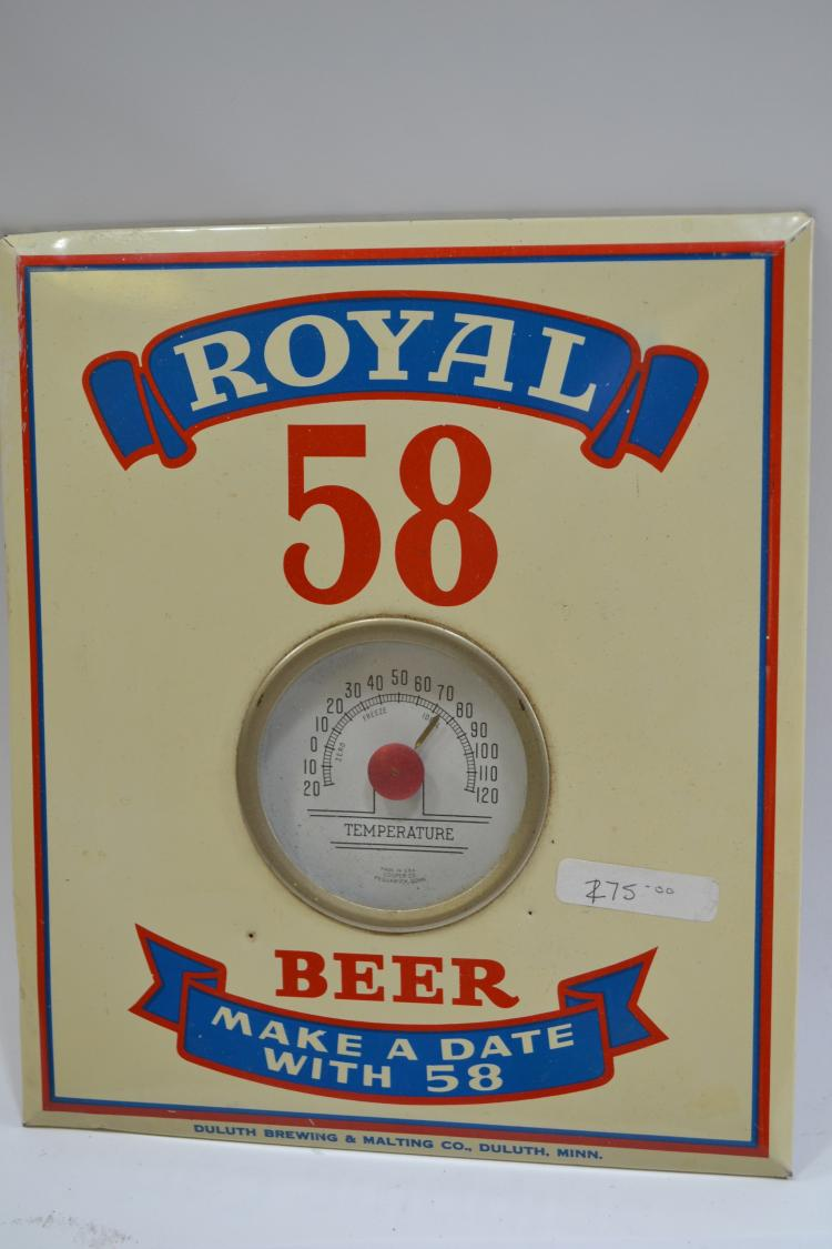 Antique Royal 58 Beer Tin Thermometer Advertisement