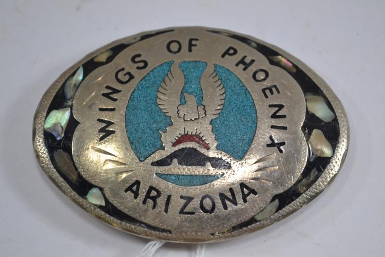 Vintage Nickel Silver Abalone Turquoise Coral Chip Wings Of Phoenix Arizona Belt Buckle