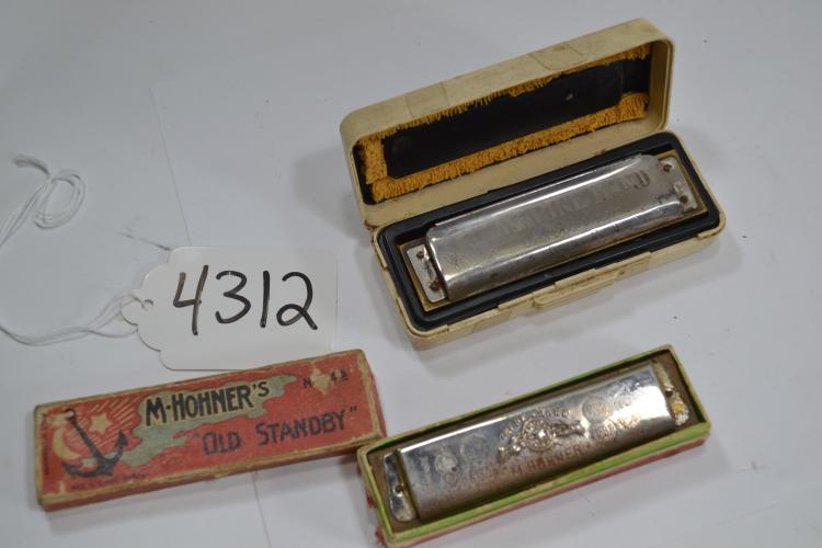 2 Antique M Hohner Harmonicas
