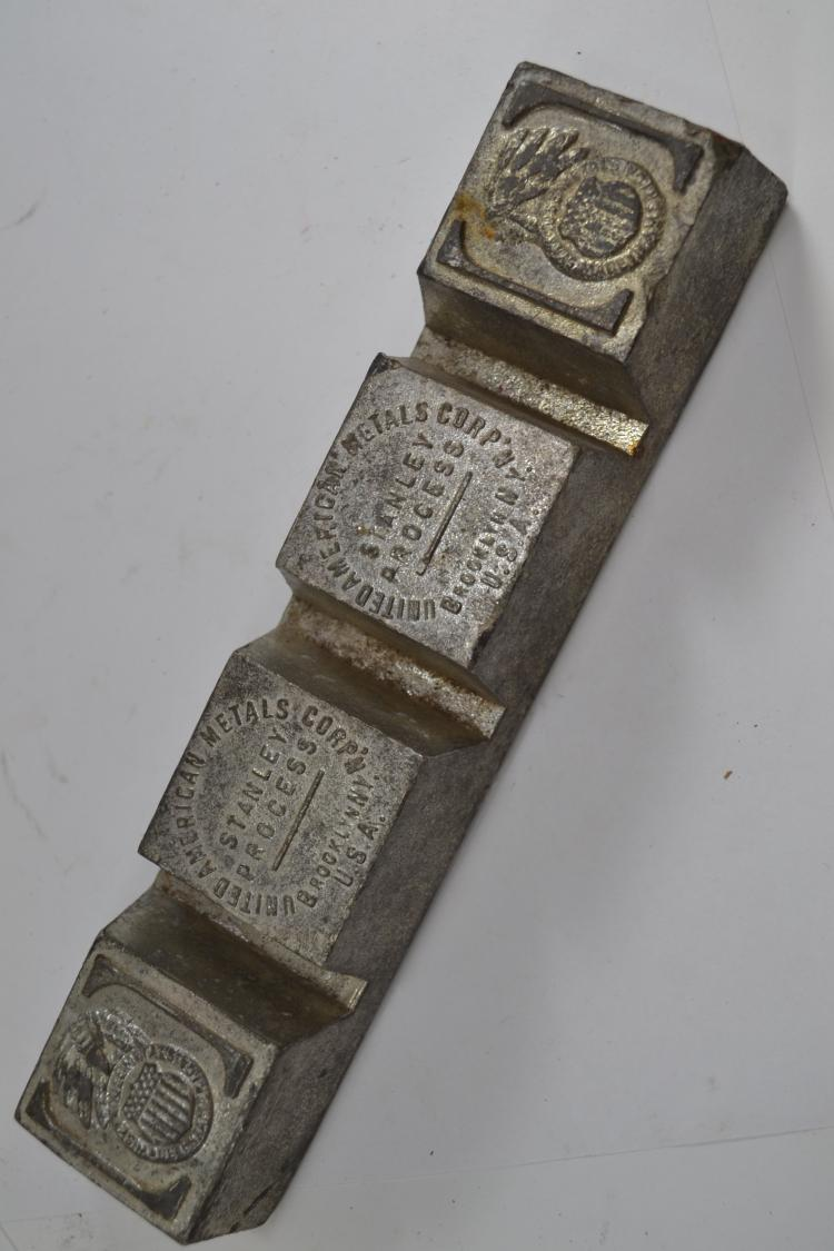Antique United American Metals Corporation Stanley Process Lead Bar