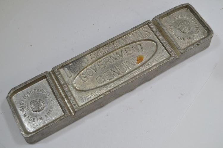 Antique United American Metals Government Genuine Lead Bar