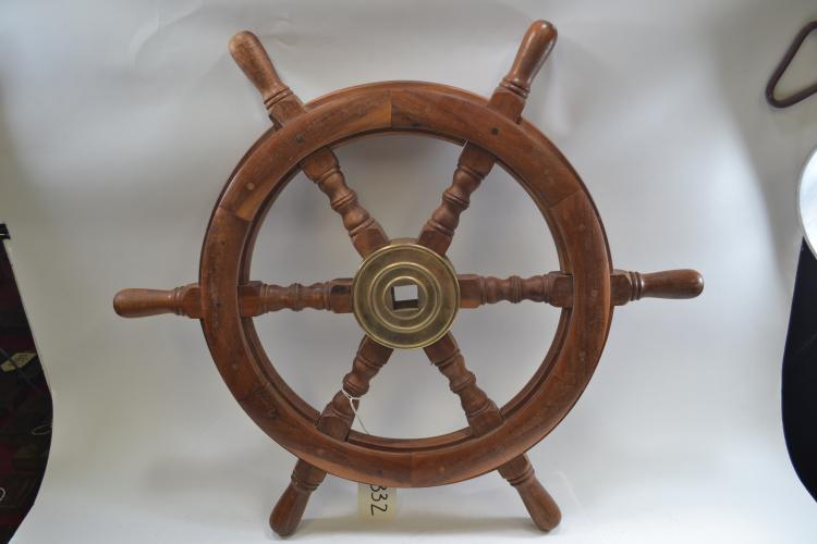 Antique Carved Wood Brass Receptacle Ships Wheel