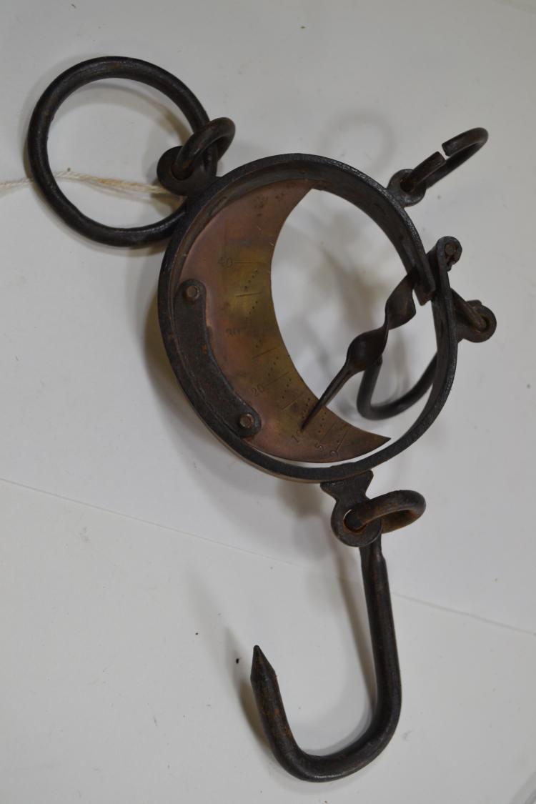 Antique Steel Hanging Scale Brass Gauge