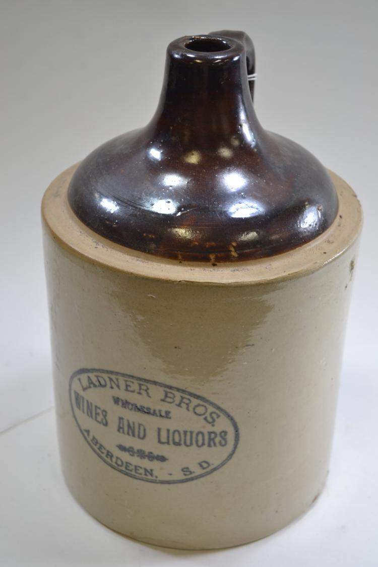 Antique Ladner Brothers Aberdeen South Dakota Wines And Liquors Crock Jug 1 Gallon