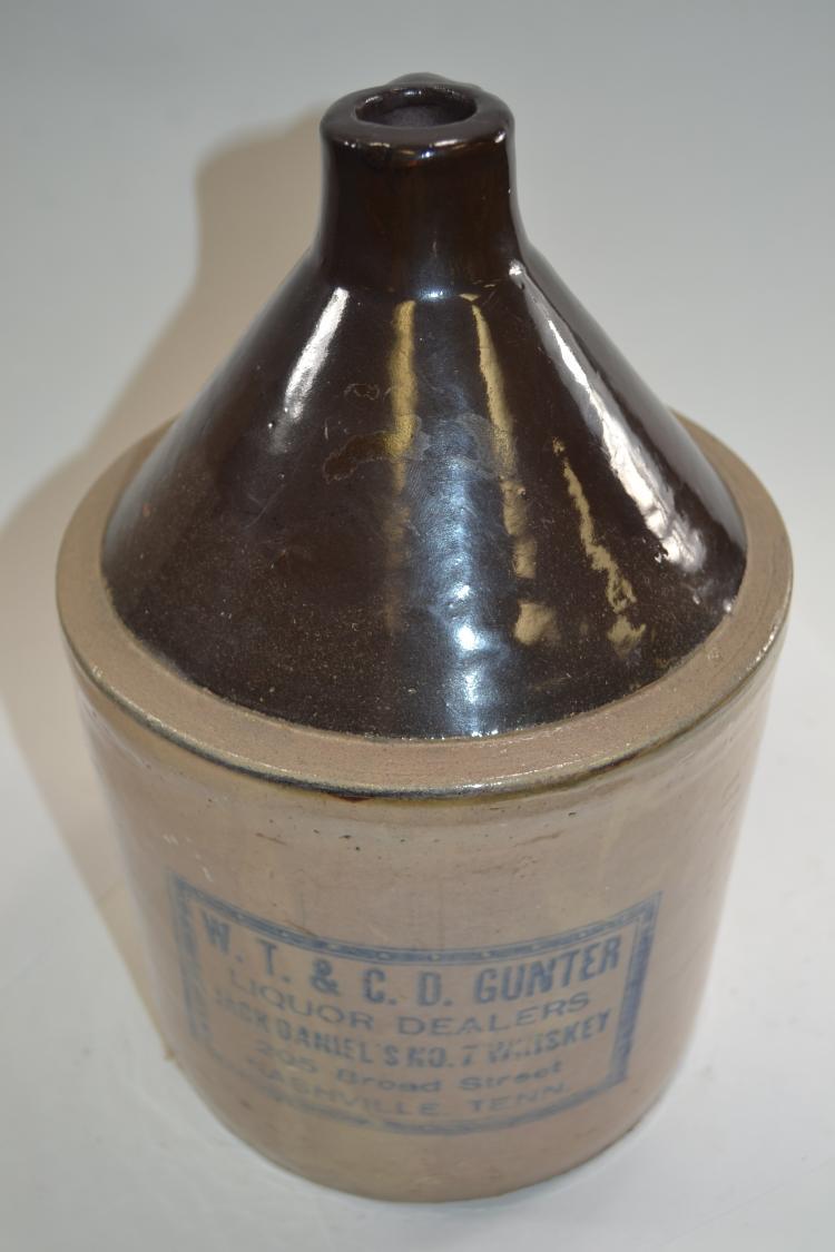 Antique Wt &Cd Gunter Liquor Dealers Jack Daniels No 7 Crock Jug