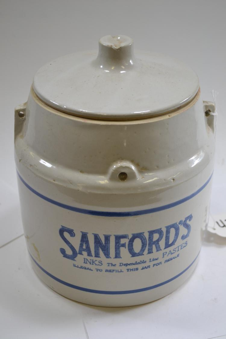 Antique Sanfords Inks Crock Jar With Lid