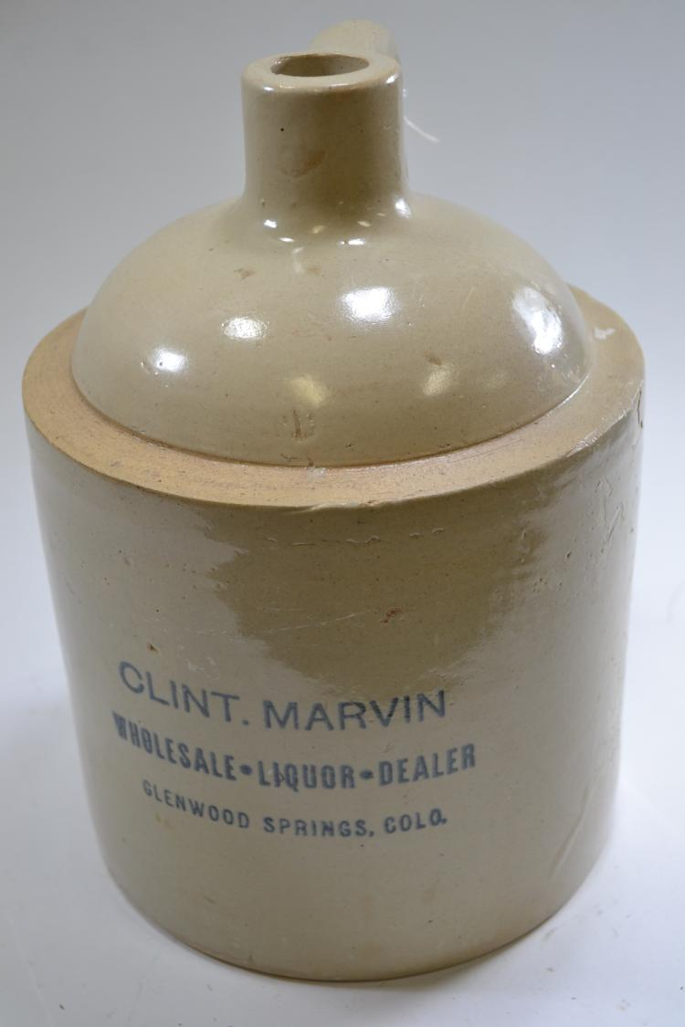 Antique Clint Marvin Crock Jug