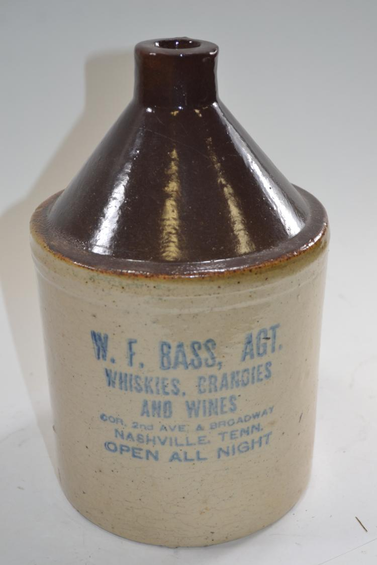 Antique W F Bass AGT Crock Jug