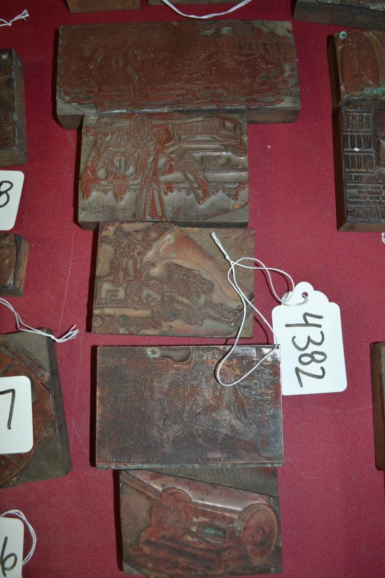 5 Vintage Farm Implements Ink Blocks