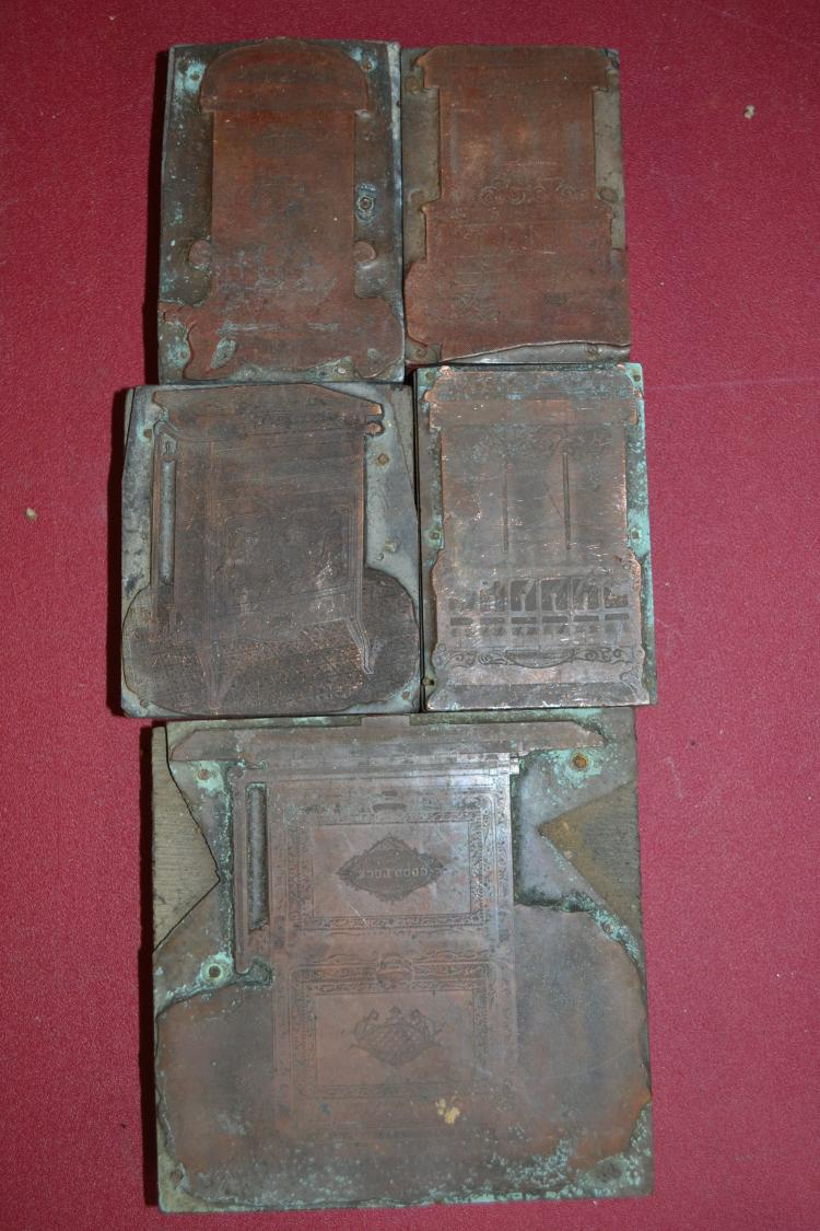5 Vintage Stove Advertising Ink Blocks