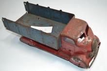 Vintage Marx Pressed Steel Dump Truck With Wooden Wheels