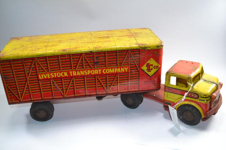 Vintage Loomis Pressed Steel Livestock Transport Company Semi Truck And Trailer