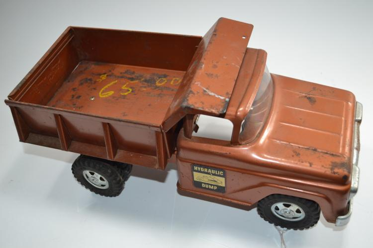 Vintage Brown Tonka Hydraulic Dump Ford Pressed Steel Dump Truck