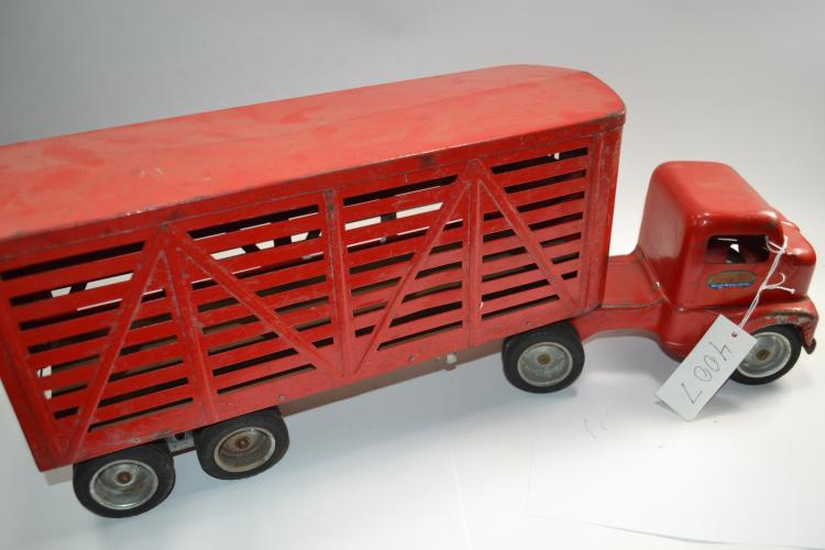 Vintage Tonka Toys Pressed Steel Cattle Or Livestock Semi Truck & Trailer
