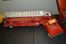 Vintage Structo Toy Pressed Steel Fire Truck Aerial Ladder Trailer Only