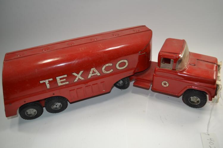 Vintage Buddy L Pressed Steel Texaco Fuel Tanker Truck And Trailer