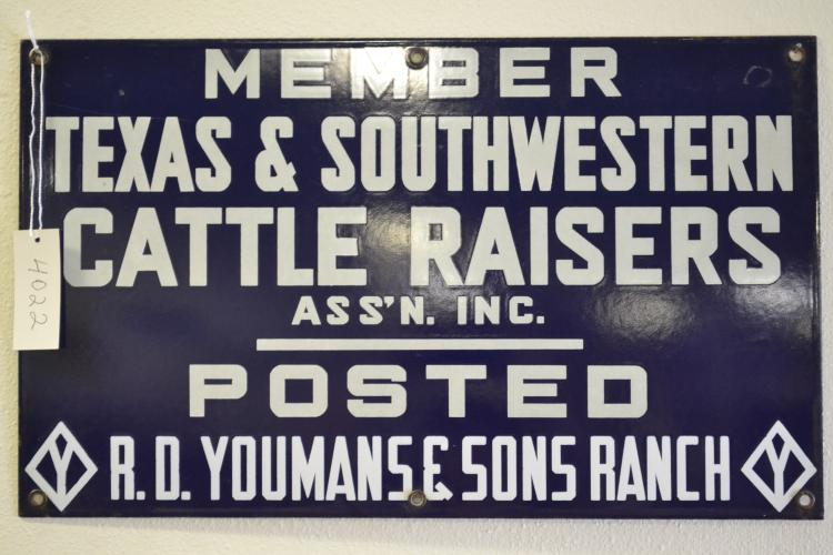 Antique Member Texas & Southwestern Cattle Raisers Assn Youmans & Sons Ranch Porcelain Sign