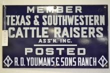 Antique Member Texas & Southwestern Cattle Raisers Assn Youmans & Sons Ranch Porcelain Sign