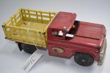 Vintage San Made In Japan 595 Pressed Steel Toy Stake Bed Flatbed Truck