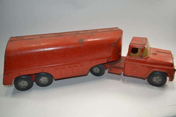 Vintage Buddy L Pressed Steel Semi Truck And Trailer Fuel Tanker