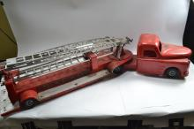 Antique Structo Toys Pressed Steel Aerial Ladder Fire Truck And Trailer