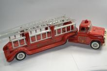 Vintage Buddy L Number 3 Fire Department Pressed Steel Toy Aerial Ladder Fire Truck & Trailer