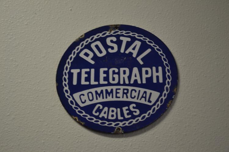 Antique Porcelain Enamel Postal Telegraph Commercial Cables Round Advertising Sign