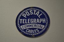 Antique Porcelain Enamel Postal Telegraph Commercial Cables Round Advertising Sign