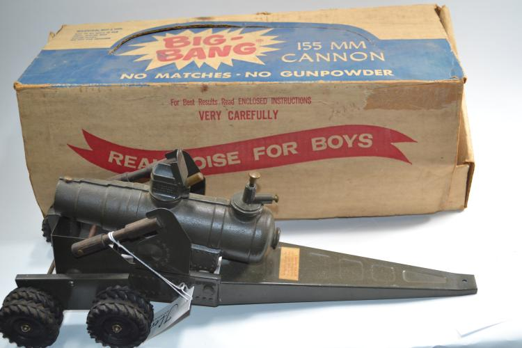 Vintage Big Bang 155 Millimeter Carbide Cannon Trailer Toy In Original Box
