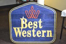Vintage Thick Carved Wood Best Western Motel Sign From Prescott Arizona