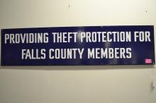 Large Antique Providing Theft Protection For Falls County Members Texas Porcelain Enamel Sign