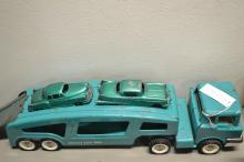 Vintage Structo Auto Haul Pressed Steel Semi Truck And Trailer With Cars
