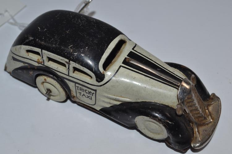 Vintage Marx Pressed Steel Tin Tricky Taxi Wind Up Toy Car