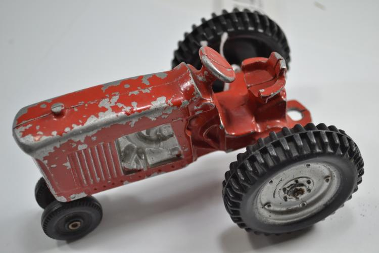 Vintage Hubley Style Diecast Red Farm Tractor Toy