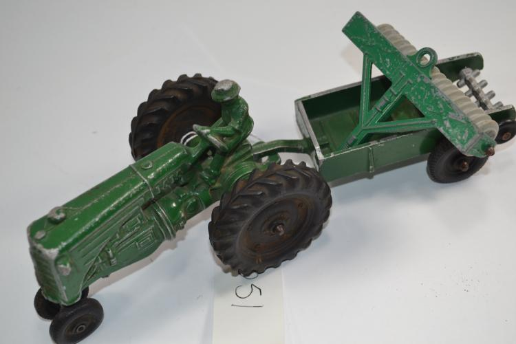 Vintage Mm Diecast Metal Toy Farm Tractor With Seed Spreader