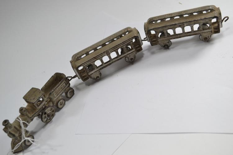 Antique Cast Iron Toy Train Engine And Two Cars