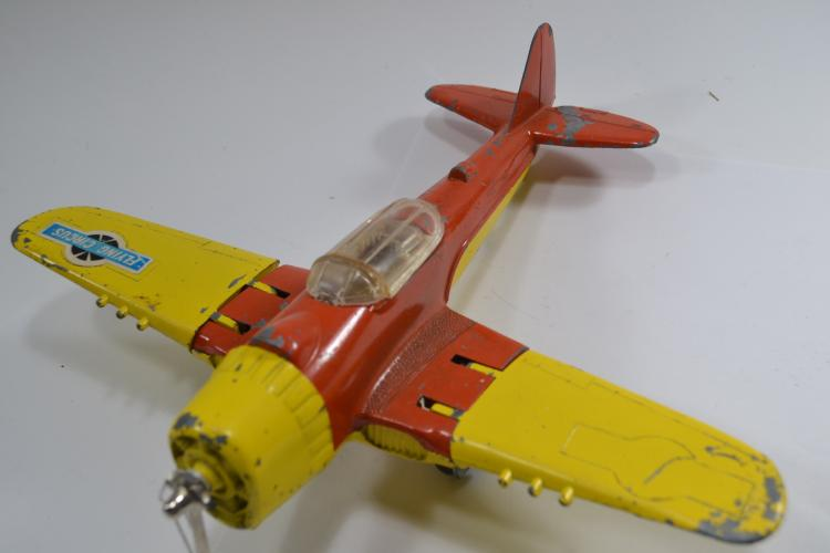 Vintage Hubley Kiddie Toy Flying Circus Large Folding Wing Die-Cast Toy Airplane
