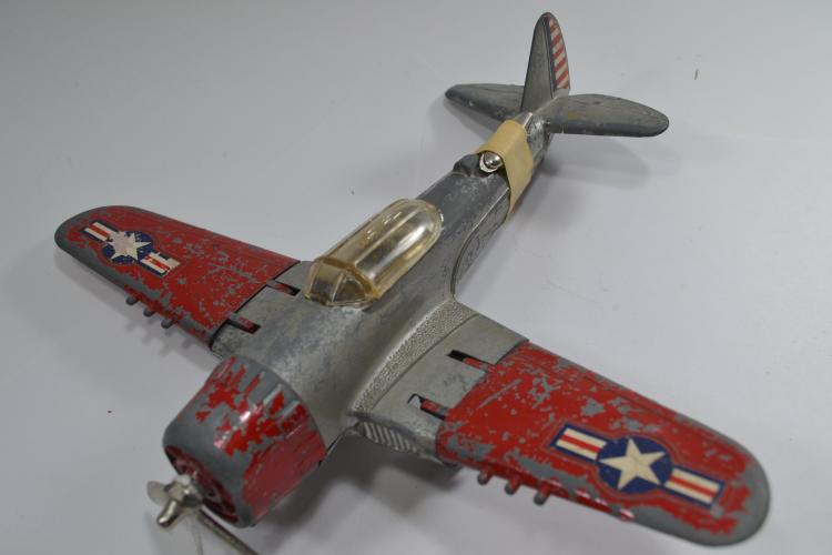 Vintage Hubley Kiddie Toy Diecast Toy Airplane With Folding Wings
