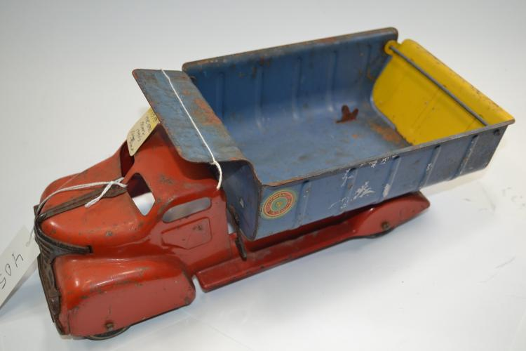 Vintage Marx Lumar Contractors Pressed Steel Toy Dump Truck
