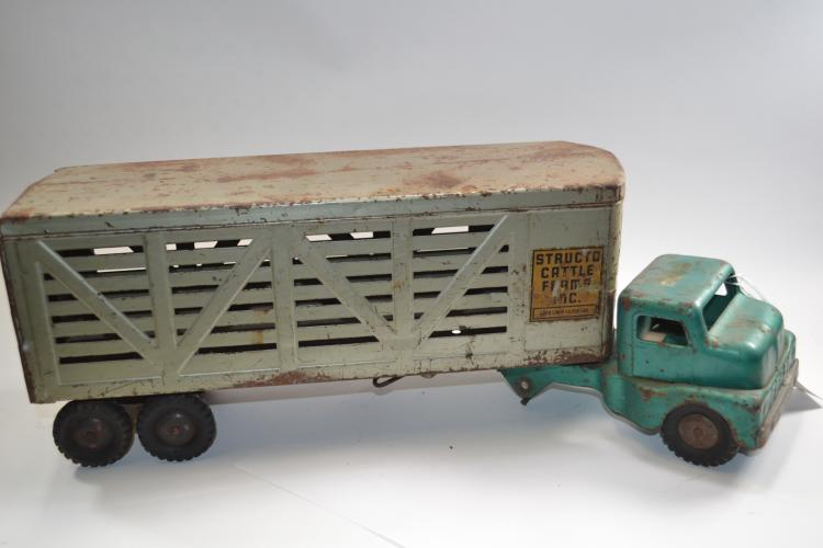 Vintage Structo Toys Cattle Farm Sink Livestock Semi Truck And Trailer