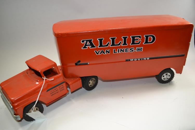 Vintage Tonka Toys Pressed Steel Allied Van Lines Moving Truck And Trailer