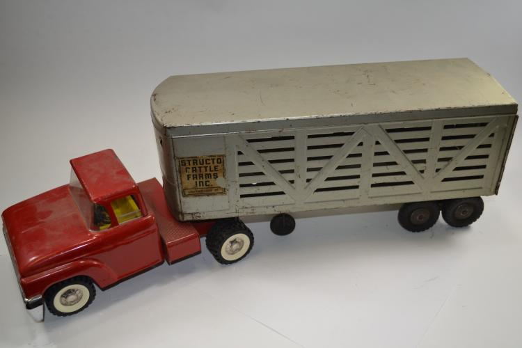 Vintage Structo Toys Cattle Farms Semi Truck And Livestock Trailer