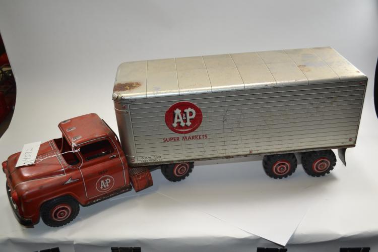 Vintage Marx Toys A&P Pressed Steel Semi Moving Truck And Trailer
