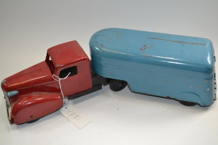 Antique Wyandotte Toys Pressed Steel Highway Freight Truck And Trailer Wooden Tires
