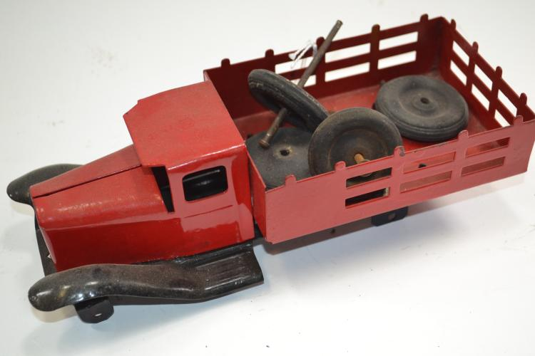Vintage Wyandotte Pressed Steel Stake Bed Truck For Repair