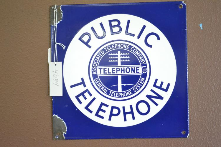 Antique Porcelain Enamel Associated Telephone Company Ltd Public Telephone Sign